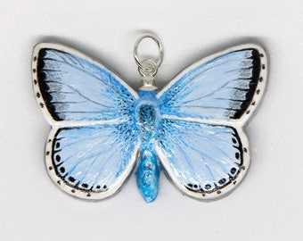 Handmade Chalkhill Blue Butterfly Pendant