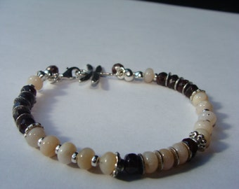 Peruvian Pink Opals and Mozambique Garnet Bracelet in Sterling Silver