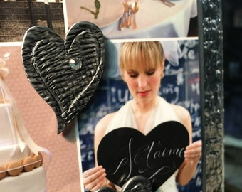 Heart Valentine Love Wedding Marriage Celebration Magnet Set - Rhinestone Handmade Pewter Magnetic Personalized Gift - Picture Frame Memory
