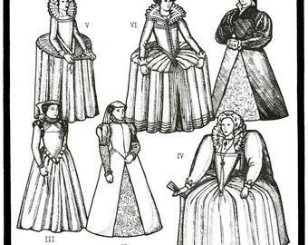 Period Patterns Late Tudor & Elizabethan 1545-1610 era Gowns Sewing Pattern #56 Sizes 8-18 Historic Costumes