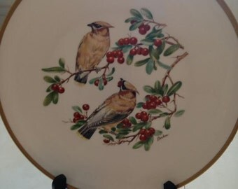 BOEHM Cedar Waxwings with Firethorn Fine Bone Porcelain Plate Rare Collectible