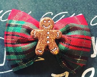 "Bows for Dogs or Girls - 2"" Gingerbread Man Mini Bow - Plaid - Christmas Plaid - Dog Bows - Holiday Bows - Bows - Christmas Bows - Red Plaid"