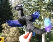 dragon posable doll black purple blue angel wings horns ceramic eyes fantasy pet miniature faux fur Jerseydays cute