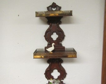 Vintage  SYROCO WOOD 3 Tier Wall Shelf with decorative Brass on shelf