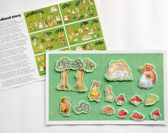 Vintage Fuzzy-Felt set in Woodland Story theme, 1980