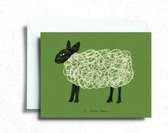 I Love Ewe Card, I Love You Sheep Greeting Card
