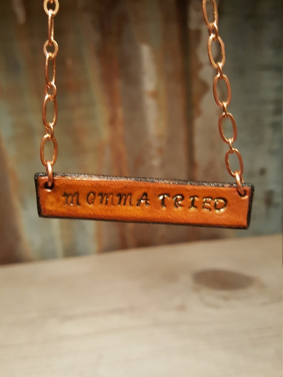 Stamped Leather Necklace, Leather Necklace, Copper Necklace