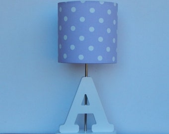 Handmade Small Lilac/Purple with White Polka Dot Drum Lamp Shade - Great for Nursery or Girl's Room