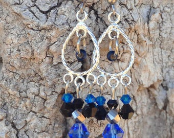 Black and blue swarovski drop earrings, silver colored drop, surgical steel fish hook earrings, includes gift box