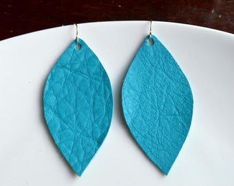 TEAL Leather Petal Earrings- Leather Earrings- Big Leather Earrings- Statement Earrings