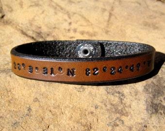 Personalized leather bracelet GPS Latitude Longitude Custom Coordinates Mens Womens engraved Anniversary Christmas Gift Couples Jewelry Date