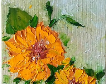 Marigold, ORIGINAL art, ABSTRACT oil painting on canvas, mini canvas, small canvas, palette knife, on SALE, miniature painting