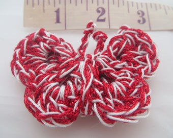 Knitted, A pretty Hand made  Crochet   Butterfly Motif,  Butterfly    in Red and white Butterfly brooch