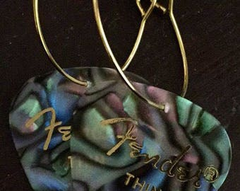 Abalone Fender Guitar Pick on Thin Gold Metal Hoops