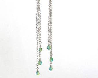 Green Earrings, Extra Long Green Earrings, Green Everyday Earrings, Statement Earrings, Long Earrings, Green Jewelry, Long Bead Earrings
