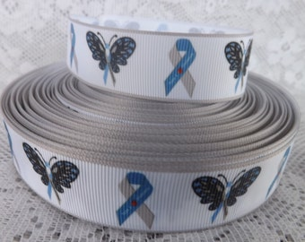 Diabetes Ribbon 1 inch grosgrain ribbon Type 1 Diabetes Ribbon
