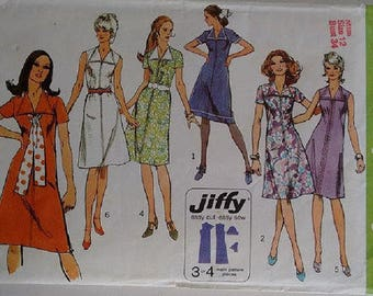 "Vintage 1970's Simplicity 9355 Jiffy Sewing pattern Wide Collar Midi Mini Dress Size Bust 34"" UK 12"