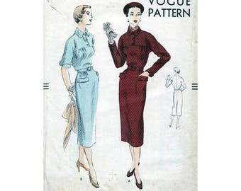 50s Vogue dress sewing patterns 7118, bust 36 inches, factory folded, kimono sleeves