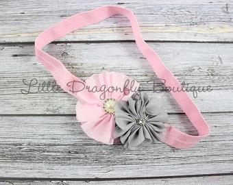 RTS Baby pink & grey headband {pink headband, baby headband, child headband}