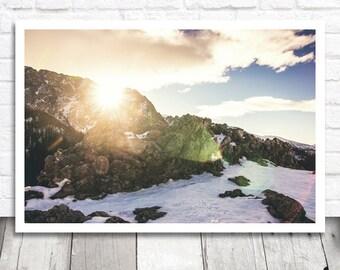 Mountain Sunset Print, Mountain Print, Winter Mountain Photo Download, Digital Print, Digital Photo Print, Printable Photo, Sunset Photo