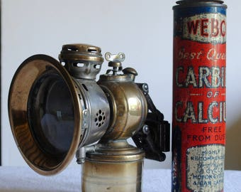 Vintage Bicycle lamp and Carbide tin