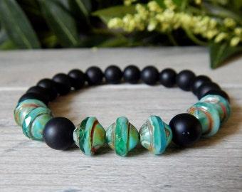 Men's Green Bracelet, Mens Boho Bracelet, Mens Beaded Bracelet, Mens Blue and Green Bracelet, Men's Jewelry, Gift for Him, Mans Bracelet