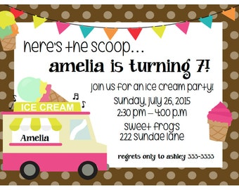 Girl's Ice Cream Birthday Invitation