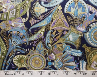 Robert Kaufman original VALLEY of the KINGS Egyptian Fabric Rare Tapestry printed Dawn colorway Metallic gold accents 1/2 yard increment