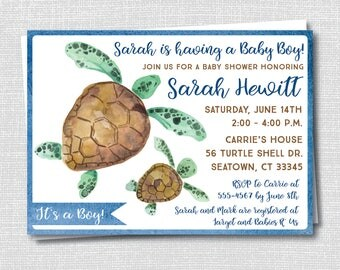 Sea Turtle Baby Shower Invitation - Turtle Baby Shower - Boy Baby Shower - Digital Design and Printed Invitations - FREE SHIPPING