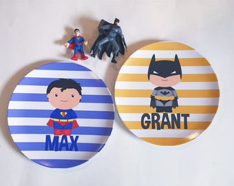 personalized Melamine Plate (one plate) - Superman OR Batman