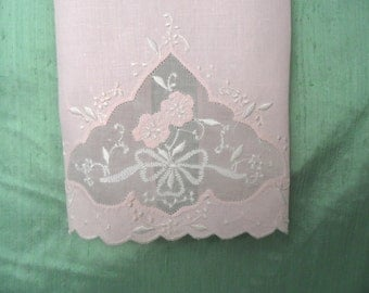 Embroidered sheer inset pink guest hand towel / vintage pink and white