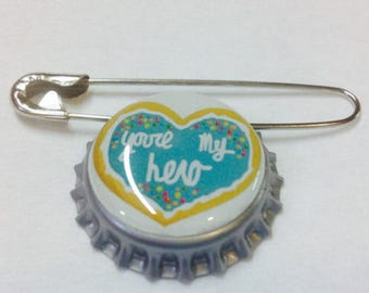 You're My Hero Award Bottlecap Pin Disney Wreck it Ralph Inspired