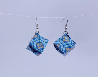 SALE Origami Box Earrings - Geometric Blue