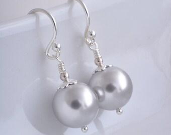 Grey pearl earrings Swarovski pearl drop earrings UK seller dangle earrings light grey