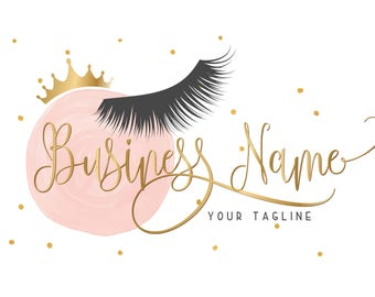 Custom logo design , lashes logo, crown lash beauty logo, makeup logo, gold pink lashes logo design, gold pink beauty logo, design lashes