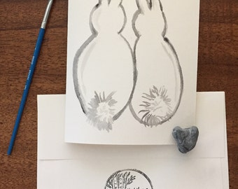 7x5 Framable Real Hand Drawn Card-Bunny Rabbit Animal Butts