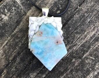 Blue Larimar & White Howlite stone handmade metaphysical pendant gypsy hippie pagan bohemian new age spiritual jewelry