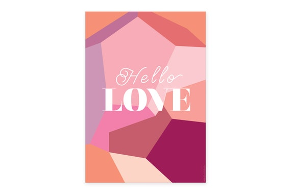 Hello Love poster | A3 print | Unframed | Romantic graphic poster | Interior design | Geometric wall art | Valentine gift