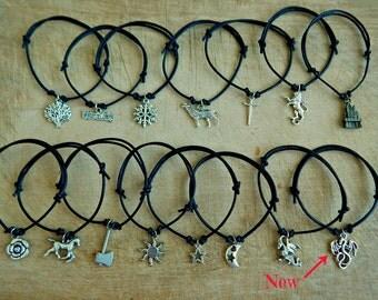 Game of Thrones Bracelet - Direwolf Dragon Lion Bracelet - One Leather Bracelet