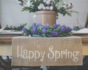 High Quality Happy Spring Burlap Table Runner, Table Runner, Spring Table Runner,  Rabbit, Bunny