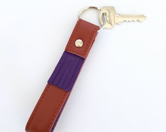Carey Two-Tone Tasselled Leather Key Fob: Rust and Purple
