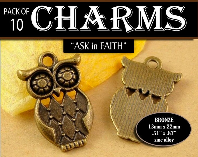 Owl Charms - YW 2017 Ask of God Ask in Faith Mutual Theme Pack of 10 Charms diy Jewelry Findings for Necklaces, Bracelets LDS Craft Supplies