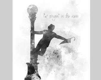 Singin' in the Rain ART PRINT illustration, Black and White, Movie, Film, Wall Art, Home Decor