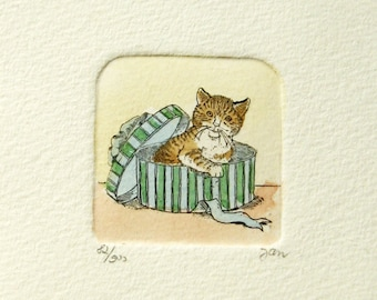 Cat in a Box - Hand Painted Etching - 4x4 Vintage Framed Art - Original Signed Print - Ginger Cat Lover Gift Cat Wall Decor Cat Portrait Art