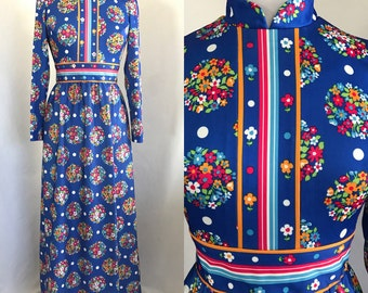 70s Size 8 Small Medium Long Sleeve Maxi Dress Blue Floral Dots Hippie Peasant Yves Jennet Excellent Condition
