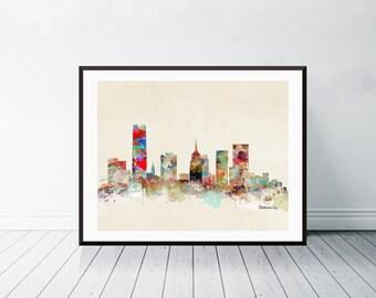 oklahoma city skyline . oklahoma cityscape. colorful watercolor skyline.Giclee art print.color your world with bri.