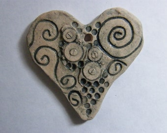 Handmade Asymmetrical Heart Shaped  Ceramic Pendant or Small Wall Decoration