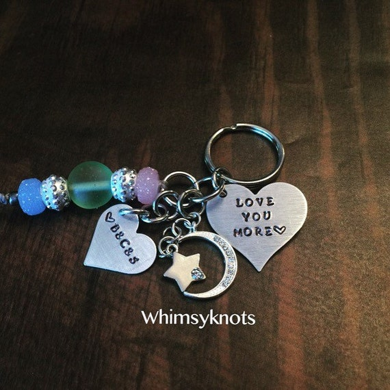 love you more heart keychain  /SISTERS  / STAR, moon, heart dangles- personalized and hand stamped.
