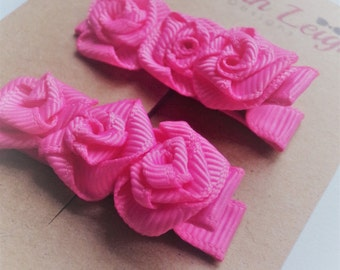Pink rose ribbon flower girls grosgrain hair clips