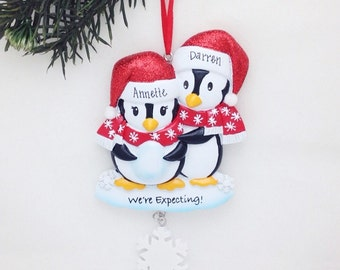 FREE SHIPPING Expecting Parents Personalized Christmas Ornament / We're Expecting Ornament / Expecting / New Baby / Pregnant / New Parents